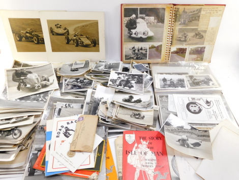 A collection of Isle of Man TT press and private photographs, c1960s, relating to motorcycle and side car events, the career of Mr Trevor Layton, additional meeting photographs, ephemera, including admission to the Members of TT Riders Association and let