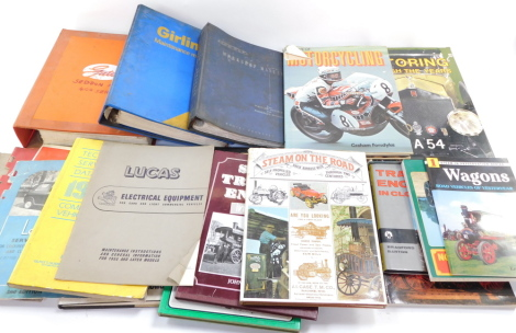 Motoring books and manuals, including Glass's Guide Technical Service Data 1987 for commercial vehicles, Lucas Electrical Equipment, Girling and other maintenance manuals, and books relating to steam traction engines. (a quantity)