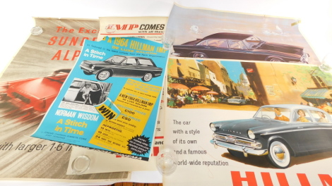 Four Hillman posters, comprising Minx de luxe saloon, The car with a style of its own and a famous world-wide reputation, ref 773/H, New Humber, Imperial and Snipe models, ref 1116/H, Imp comes complete with all these advanced features, ref 965/HJ, and Th