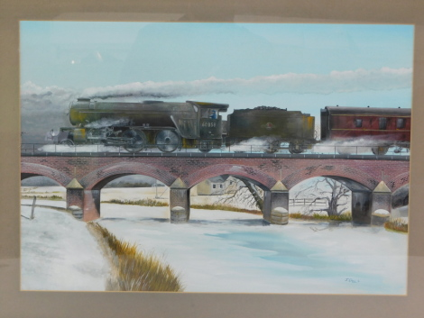 Jeff Crain (British 20th/21stC). British Rail steam locomotive crossing a viaduct in winter, 60858, 2-6-2, mixed media, signed, dated '90, 37.5cm high, 53.5cm wide.
