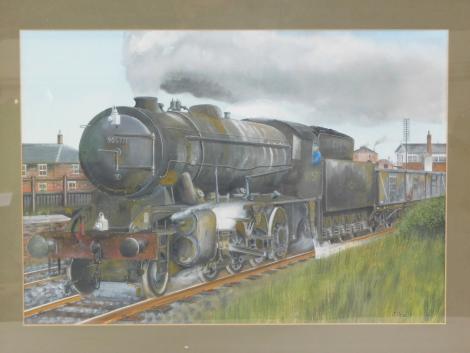 Jeff Crain (British, 20th/21stC). British Rail black steam locomotive, 90577, 2-8-0, mixed media, signed, dated '91, 37cm high, 53cm wide.
