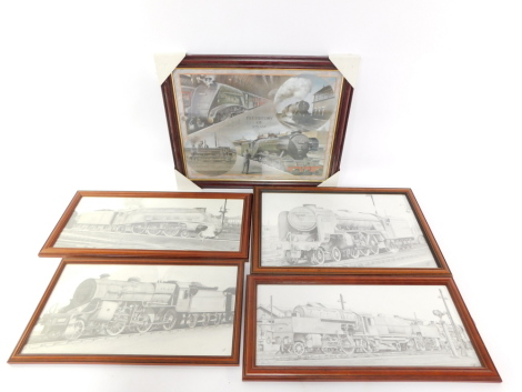Four charcoal studies of steam locomotives, including Empire of India, and Tehran, together with a print The History of Steam, all framed and glazed. (5)