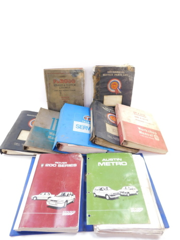 Motoring parts list, service manuals and sales books, including BMC, Rover and Talbot. (a quantity)