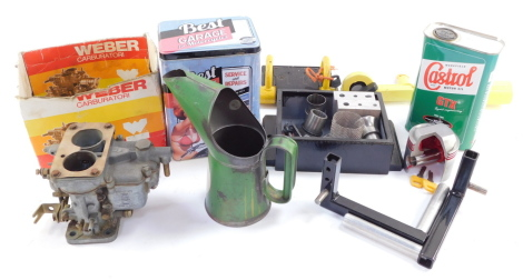 A Webber carburetor, Royal Snow Drift oil can, Castrol Motor Oil Autolock, other parts, etc. (a quantity)