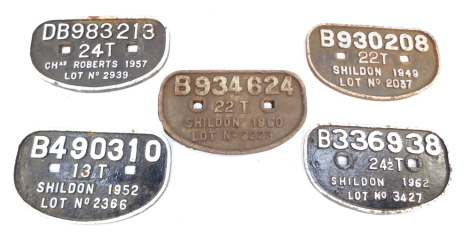 Four cast iron railway wagon plates, for Shieldon 1949, 52, 60 and 62, and Charles Robert 1957. (5)