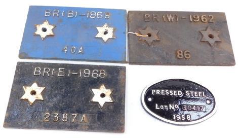 Three British Rail cast iron wagon plates, comprising B 1969, W 1962 and E 1968, and an oval pressed steel wagon plate 1958. (4)