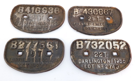 Four cast iron wagon plates, comprising Hurst, Nelson 1955, Pressed Steel 195, Darlington 1955 and Fairfield S & E Company 1956. (4)