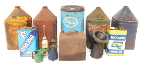 Jerry and oil cans, including ESSO., Agricastrol., and Shell., oil jugs, funnels, etc. (a quantity)