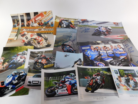 Isle of Man TT 2011 publicity photographs and posters, some signed by Gary Johnson and John McGuinness. (a quantity)