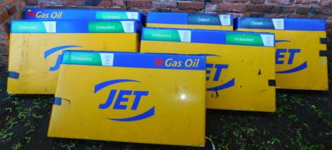 Six Jet petrol forecourt fibreglass petrol signs.