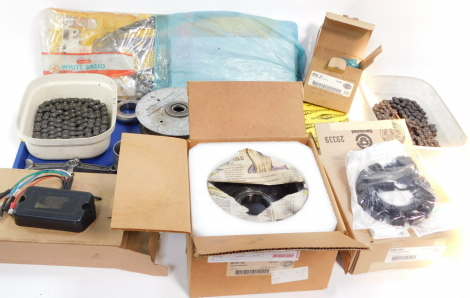 Harley Davidson spares and repair items, to include an oil pump assembly, ignition module, and clutch basket with rotor assembly. (a quantity)