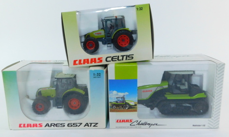 Three Claas die cast models of tractors, scale 1:32, boxed, comprising an Ares 6578TZ., Celtis and a Challenger M950.