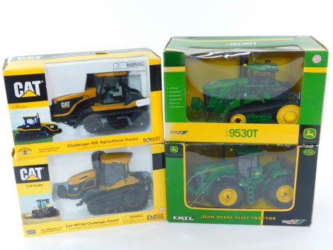 Two Britains die cast models of John Deere Tractors, Model 905T, scale 1:32, together with a CAT model of a Challenger 95E agricultural tractor, and another of a CAT MT765 Challenger tractor, all boxed. (4)