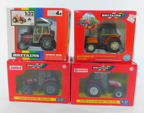 Four Britains die cast models of tractors, scale 1:32, comprising a Massey Ferguson MF362 tractor 9502., Renault 70-14 tractor 9492., Steyr 375 Kopat tractor, and a Case IH JX1075C tractor, all boxed.