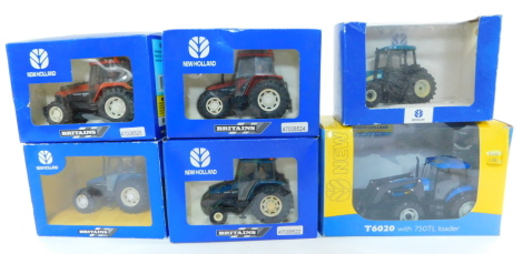 Four Britains die cast New Holland tractors, scale 1:32, comprising a Fiatagri L85 tractor 9489., New Holland 6635 tractor 9487., Fiatagri M160 tractor 9490., New Holland TL80 tractor., together with a Universal Hobbies T6020 tractor with 750TL loader, an