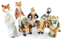A set of seven Cinque Port pottery Rye Country Gentleman animal and bird figures, including Sir Freddy Fox., Mrs Fox., pheasant., hare., mole.,and toad. (7)
