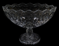 A Waterford crystal boat shaped table centrepiece, 27cm high.