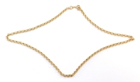 A curb link necklace, yellow metal, stamped 375, 44cm long, 8.1g.