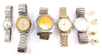 Gentlemen's and ladies' dress wristwatches, including a gent's Sicura chronograph wristwatch, Sekonda wristwatch and a lady's Timex wristwatch, together with gentleman's shirt studs. (a quantity)