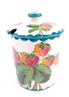 A Wemyss pottery late 19thC preserve pot and cover, painted with strawberries, bears retailer's mark for T Goode and Company, South Audley St, London, painted, printed and impressed marks, 12cm high.