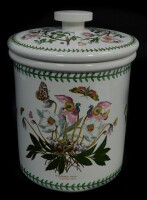 A Portmeirion pottery storage jar and cover decorated in the Botanic Garden pattern, 35cm high, 28cm diameter.