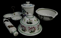 A group of Portmeirion pottery decorated in the Botanic Garden pattern, comprising a mixing bowl, rolling pin, tagine pot, storage jar and cover and three section hors d'oeuvres dish. (5) ,