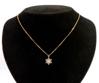A 9ct goldstar pendant and chain, the pendant set with various tiny diamonds, both round brilliant cut and baguette cut, on a spine link chain, the pendant 6mm wide, the chain 40cm long, 4.7g all in.