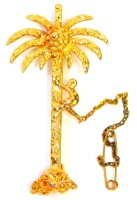 A palm tree and monkey brooch, the palm tree with a figure climbing with applied decoration, on single pin back, yellow metal stamped 18ct, 5.5cm high, 8.7g all in.