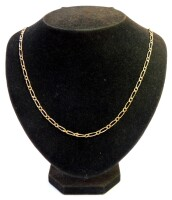 A byzantine link necklace, yellow metal stamped 375, 60cm long, 7g.