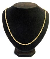 A 9ct gold rope twist necklace, 56cm long, 5.8g.