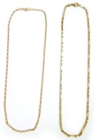 Two 9ct gold chains, comprising a curb link chain 38cm long, and a multi link chain 40cm long, 10.8g.