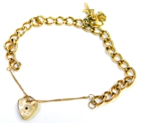 A 9ct gold charm bracelet, the bracelet of curb link design with single applied charm of anchor heart and cross, with heart shaped padlock and safety chain, 19cm long, 14.3g.