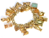 A 9ct gold charm bracelet, with various charms, some hallmarked and stamped 9ct and some unmarked, hallmarked to include car 9ct gold gold bar, owl, book, doll, mouse, letter C, hedgehog, in case of emergency £1, dolphin, miners hat, swivel charm, church,