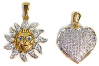 Two 9ct gold pendants, comprising a heart shaped pave set pendant, set with various imitation diamonds, 2.5cm wide, and a 9ct gold sun pendant, set with imitation diamonds and blue paste stone eyes, 3cm wide, 13.2g all in.