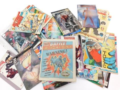 Pannapictagraphy, various comics, Battle Action Force, Spiderman, Marvel, Marvel GP Ultimate Daredevil. (a quantity)