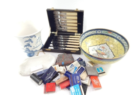 Various collectable match books, circular Oriental design footed bowl, three footed handpainted Oxford jardiniere decorated with giraffe and trees, cased set of fish eaters, and silver plated fish eaters, (a quantity)
