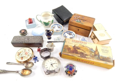 Various pottery and effects, including a a Royal Copenhagen miniature shell shaped dish decorated with a seagull no. 330, 9cm wide, a printed box set with a child, box, powder compact, treen money box, various badges, and an Edinburgh Mathematical set. (
