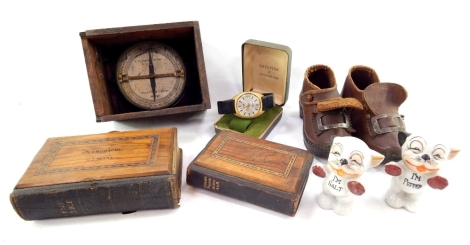 Various bygones and collectables, including a pair of early 20thC child's clogs partially studded, 12cm wide, Bonzo salt and pepper cruet set, Telegraph Works Silver Town dial, and cased hymn books. (a quantity)