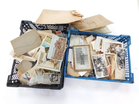 Deltiology, various postcards and ephemera, early 20thC and later, photographs, handwritten GR booklet describing vegetable types, other ephemera, stamps, various other postcards, photographic scenes, and soldier cards. (2 boxes)