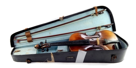 An early 20thC violin, with Arbort rest, ebonised tuning knops, scroll and interior pencil marks, possibly reading Elf, one piece curved back, 61cm long overall, with two nickel ended mother of pearl bows, in fitted case.