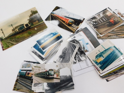 Various photographs train and railway related, diesel shunter photographs, Bounds Green 43057 Inter City 125, various other electric diesel and other trains, locomotives, other photographs mainly late 90s, early 2000s. (a quantity)