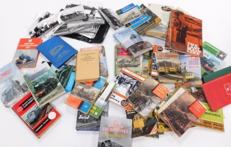 Various ephemera and photographs train and railway related, British Locomotive Combined Volume 1951, other ephemera, British Railway Locomotives 1958, black and white photographs of various locomotives, mainly taken early 2000's. (a large quantity)