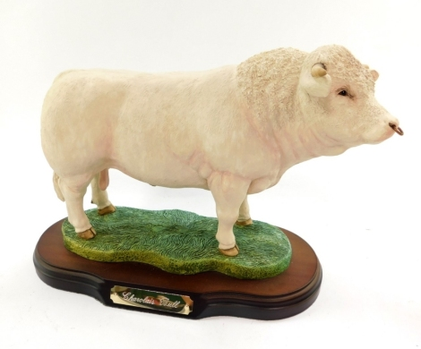 A Naturecraft figure modelled as a Charolais Bull, Best of Breed, limited edition 590/2000, on an oval base.