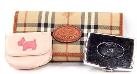 A Burberry evening purse, in check material with outer stitching, 22cm wide, Radley coin purse and a Grants of Dalvey card case with fitted interior. (3)