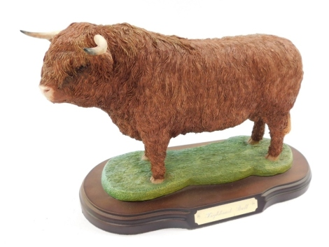 A Naturecraft figure modelled as a Highland Bull, Best of Breed, limited edition 504/2000, on an oval base.