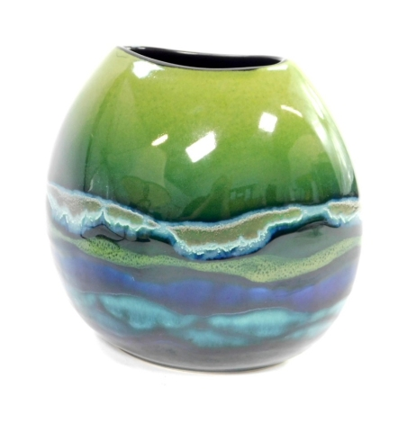A Poole pottery Mya Purse vase, raised and painted marks, boxed, 20cm high.