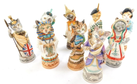 A group of Bronte Porcelain Clowder of Cats figural candle snuffers, limited edition, printed marks, comprising Ben Gur, Russian Blue, Scottish Fold, Egyptian Man, Japanese Bobtail, Persian, Maine Coon, British Shorthair and Siamese. (9)