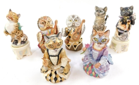 Three Bronte Famous Literary and Musical Cats figural candle snuffers, limited edition, comprising Barge Cat, Conjuring Cat and Crocheting Cat, together with Owl and The Pussy Cat figural candle snuffers, comprising two pussy cats and two owls. (7)