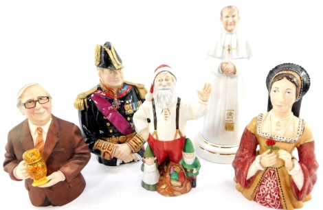 A Bronte porcelain figural candle snuffer modelled as Sir Winston Churchill, Lord Warden of The Cinque Ports, limited edition, 94/250, Tudor Series figure modelled as Anne Boleyn, a figure of Henry Sandon 2, The Henry's Friend Series, limited edition, Chr
