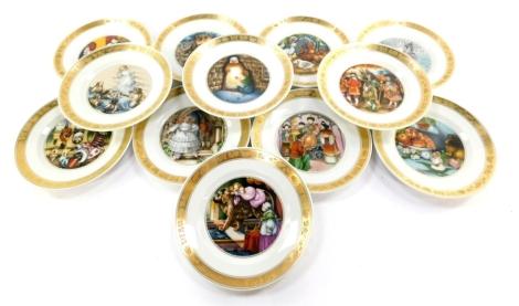 A set of twelve Royal Copenhagen porcelain Hans Christian Anderson plates, c1995, printed and painted marks.